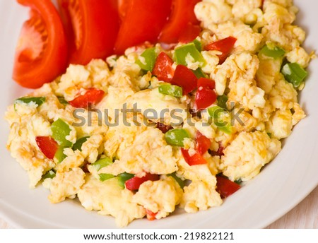 scrambled eggs with vegetables - stock photo