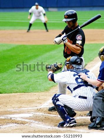 SCRANTON - JULY 31: Rochester Red Wings batter, Garrett Jones swings at a pitch against the Scranton Wilkes Barre Yankees in a game at PNC Field July 31, 2008 in Scranton, PA - stock photo