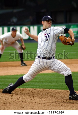 SCRANTON - JULY 31: Scranton Wilkes Barre Yankees pitcher David Robertson throws a pitch in a game at PNC Field on July 31, 2008 in Scranton, PA. - stock photo