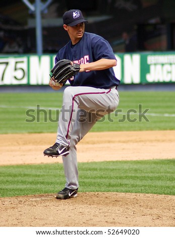 SCRANTON - JUNE 26: Columbus Clippers' pitcher delivers a pitch in a game against the Scranton Wilkes Barre Yankees in a game at PNC Field June 26, 2008 in Scranton, PA - stock photo