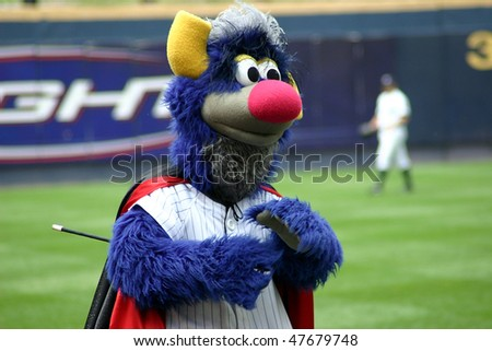 SCRANTON - JUNE 26: Scranton Wilkes Barre Yankees mascot , Champ, entertains the crowd against the Columbus Clippers in a game at PNC Field June 26, 2008 in Scranton, PA - stock photo