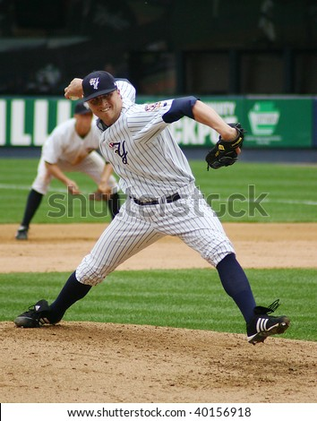 SCRANTON - JUNE 26: Scranton Wilkes Barre Yankees pitcher fires the ball against the Columbus Clippers in a game at PNC Field June 26, 2008 in Scranton, PA. - stock photo