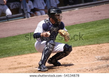 SCRANTON - MAY 13: Scranton Wilkes Barre Yankees catcher Rene Rivera in a game against the Columbus Clippers at PNC Field May 13, 2010 in Scranton, PA - stock photo