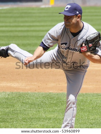 SCRANTON - MAY 13: The Columbus Clippers pitcher Frank Hermann fires a pitch in a game against Scranton Wilkes Barre Yankees in a game at PNC Field May 13, 2010 in Scranton, PA - stock photo
