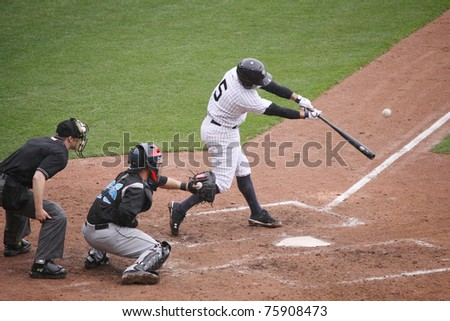 SCRANTON, PA -April 24: Scranton Wilkes-Barre Yankees batter #5 Kevin Russo take a swing at a pitch against the Syracuse Skychiefs at PNC Field  on April 24, 2011 in Scranton, Pa - stock photo