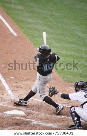 SCRANTON, PA -April 24: Syracuse Skychiefs' Michael Aubrey takes a big swing at a pitch during a game against the Scranton Wilkes Barre Yankees at PNC Field  on April 24, 2011 in Scranton, Pa - stock photo