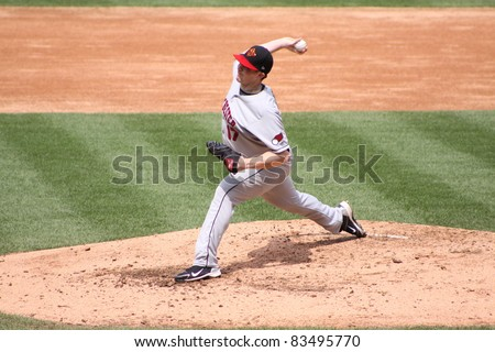 SCRANTON, PA - AUGUST 24: Rochester Red Wings pitcher Eric Hacker throws a pitch during a game against the Scranton Wilkes Barre Yankees at PNC Field on August 24, 2011 in Scranton, PA. - stock photo
