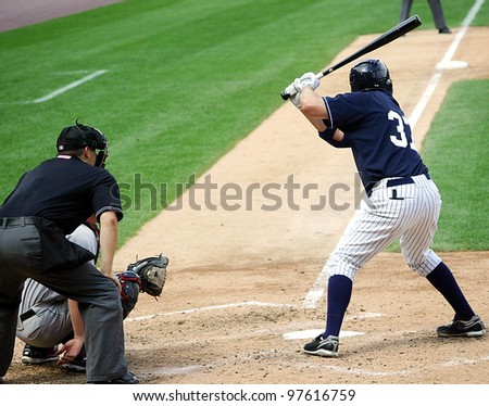 SCRANTON, PA - AUGUST 24: Scranton Wilkes Barre Yankees batter Mike Lamb stands at the plate in a game against the Rochester Red Wings at PNC Field on August 24, 2011 in Scranton, PA. - stock photo
