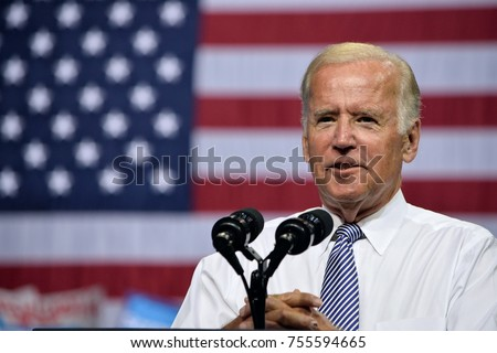 SCRANTON, PA - AUGUST 15, 2016: Vice President Joe Biden makes a hands folded gesture as he delivers a speech at the campaign event for democratic presidential nominee Hillary Clinton.