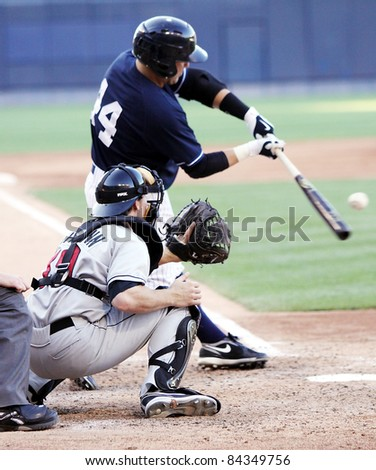 SCRANTON, PA - JULY 9: Scranton Wilkes Barre Yankees batterP.J. Pillettere swings at a pitch in a game against the Rochester Red Wingss at PNC Field on July 9, 2011 in Scranton, PA. - stock photo