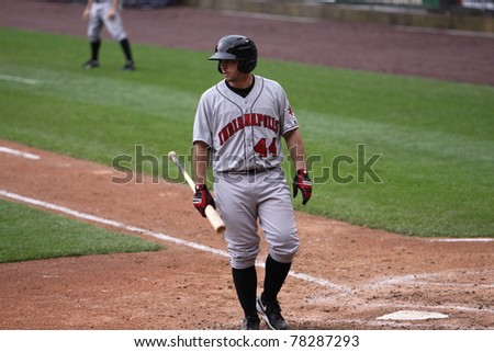 SCRANTON, PA - MAY 24:Indianapolis Indians catcher Wyatt Toregas walks away after striking out in a game against the Scranton Wilkes Barre Yankees at PNC Field on May 24, 2011 in Scranton, PA. - stock photo