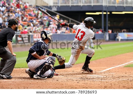 SCRANTON, PA - MAY 24:Indianapolis Indians center fielder Gorkys Hernandez swings at a pitch in a game against the Scranton Wilkes Barre Yankees at PNC Field on May 24, 2011 in Scranton, PA. - stock photo
