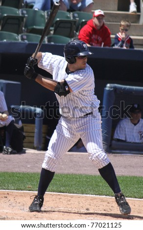 SCRANTON, PA - MAY 8: Scranton Wilkes Barre Yankees batter #21 Jesus Montero looks at  a pitch in a game against the Pawtucket Red Sox at PNC Field on May 8, 2011 in Scranton, PA. - stock photo