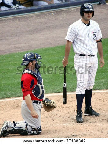 SCRANTON, PA - MAY 8: Scranton Wilkes Barre Yankees batter Jesus Montero steps to the plate in a game against the Pawtucket Red Sox at PNC Field on May 8, 2011 in Scranton, PA. - stock photo
