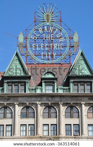 SCRANTON, PA - SEP 26: Scranton Electric Building in Scranton, PA, as seen on Sep 26, 2015. The Electric City sign remained unlit for many years but in 2004 it was restored.