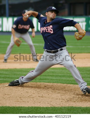 SCRANTON PENNSYLVANIA - JUNE 26: Columbus Clippers pitcher fires the ball against the Scranton/Wilkes Barre Yankees in a game at PNC Field June 26, 2008 in Scranton, PA. - stock photo
