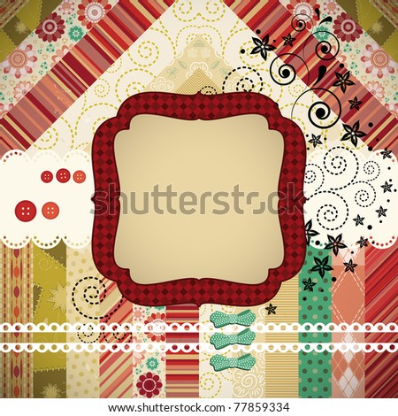 Scrap background made in the classic patchwork technique with floral stamps. - stock photo