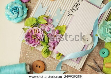scrap booking. making of greeting card - stock photo