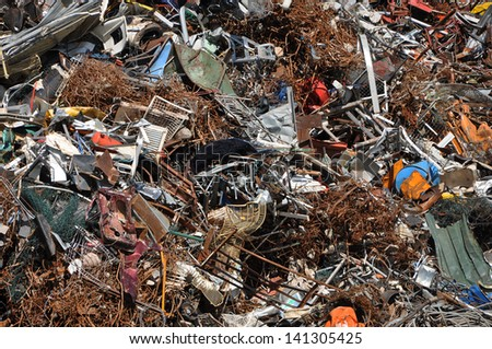 Scrap heap - Scrap Metal ready for recycling - stock photo