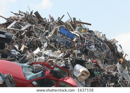 Scrap Metal and household waste at a recycling facility - stock photo
