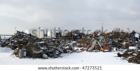 Scrap Metal and household waste at recycling facility - stock photo