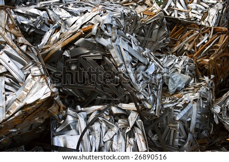 Scrap metal cubes for recycling - stock photo