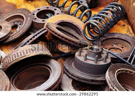 scrap metal old car parts - stock photo