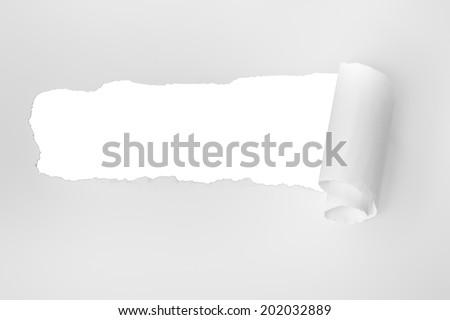 scrap of paper, on white sheet, horizontal photo - stock photo