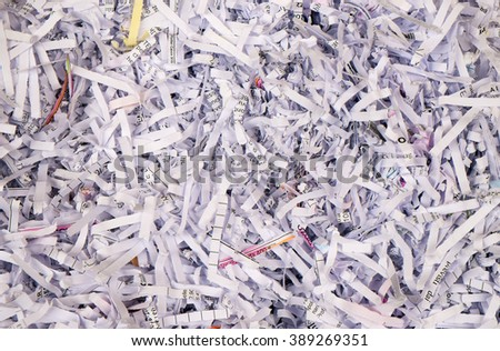 Scrap Paper from paper cutter - stock photo