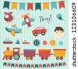 Scrapbook baby boy set. Raster version - stock photo