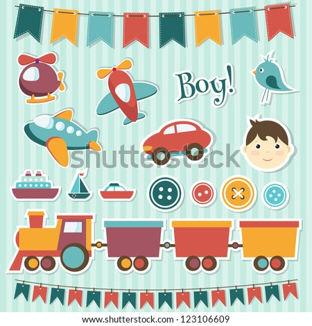 Scrapbook baby boy set. Raster version - stock photo