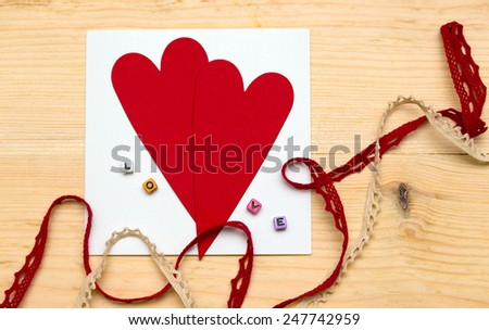 scrapbook background. Card and tools with decoration. valentine's day  - stock photo