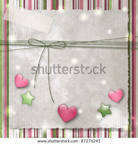 Scrapbook background with glossy stars and hearts