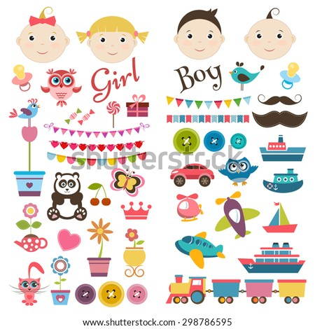 Scrapbook boy and girl set. Raster version - stock photo