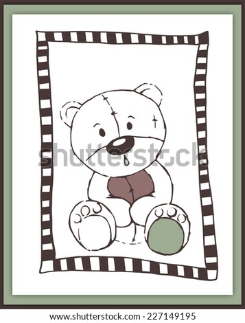 Scrapbook card with cute astonished teddy bear - illustration - stock photo