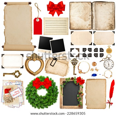 scrapbook elements for christmas holidays greetings. old book pages, paper, scroll, wreath, blackboard, corner and photo frames isolated on white background - stock photo