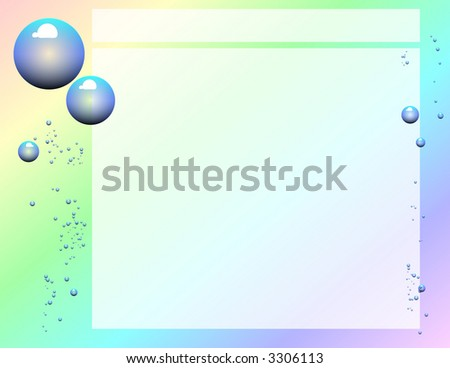 Scrapbook Page Layout - Bubbles against a Rainbow Gradient Background - stock photo