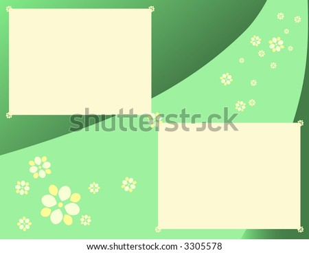 Scrapbook Page Layout - Daisies and Gradients in Green - stock photo