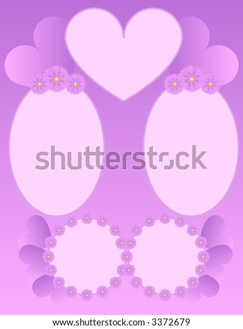 Scrapbook Page Layout - Hearts and Flowers - stock photo