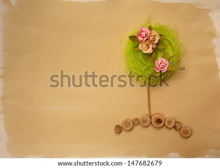 Scrapbook page w flower tree - stock photo