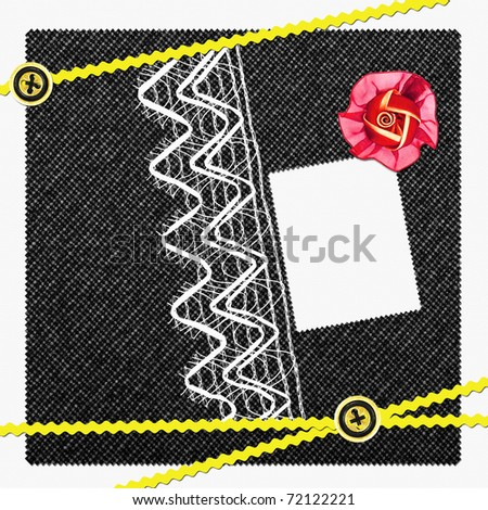 scrapbook page with rose and buttons - stock photo