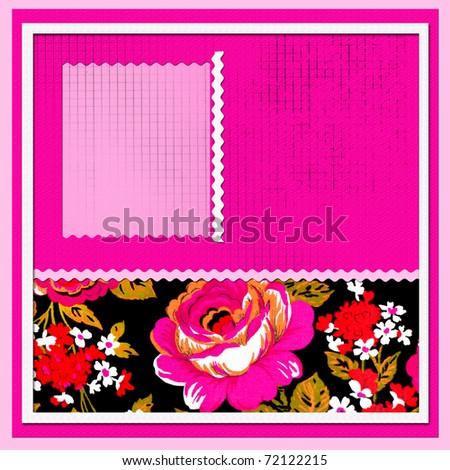 scrapbook with beautiful flowers - stock photo