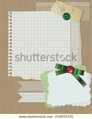 scrapbooking christmas design, greeting card with ribbon