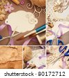 scrapbooking craft materials - stock photo