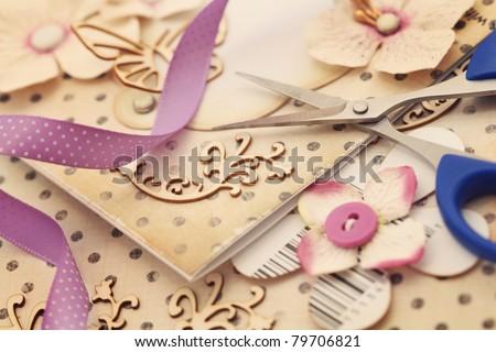 scrapbooking craft materials - stock photo