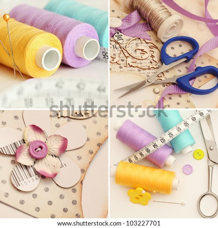 scrapbooking craft materials and sewing accessories - stock photo
