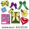 scrapbooking elements, bows out of ribbons - stock photo