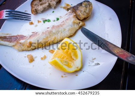 Scraps of fried fish - stock photo