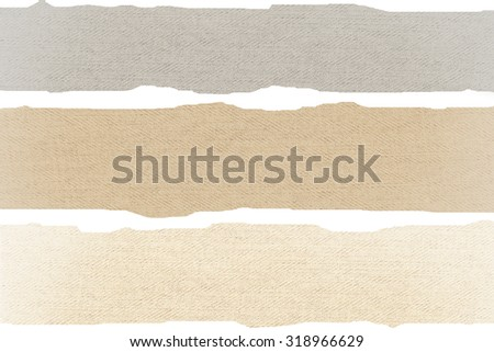 scraps of paper background canvas texture, horizontal stripes of linen fabric as banner design template - stock photo