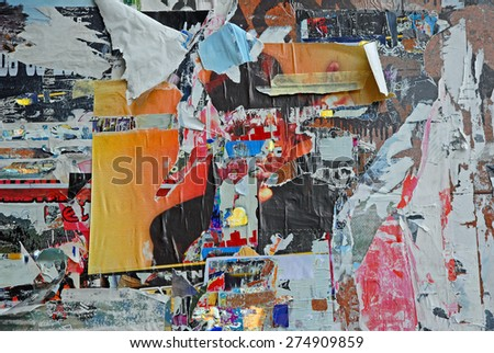 Scratched advertising sign. - stock photo